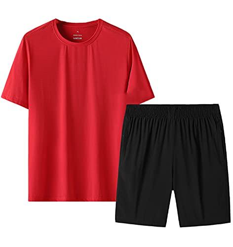 GOLOFEA Juego de Trucos Juego de Jogging Gimnasio Correr Corto y Camiseta Traje Set Ejercicio Fitness Sportswear Sudaderas 3XL