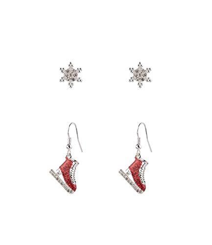 SIX 2er Set silberglänzende, weihnachtliche Ohrringe (532-121)