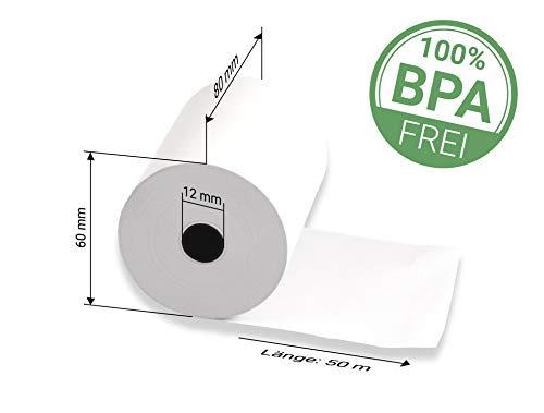 50x Bonrolle 80mmx50m BPA-frei, für Thermo-Drucker (qualitatives Thermopapier für Kassensysteme und Registrierkassen, Breite: 80 mm, Ø Rolle: 60 mm, Ø Hülse 12 mm, Lauflänge: 50 m)