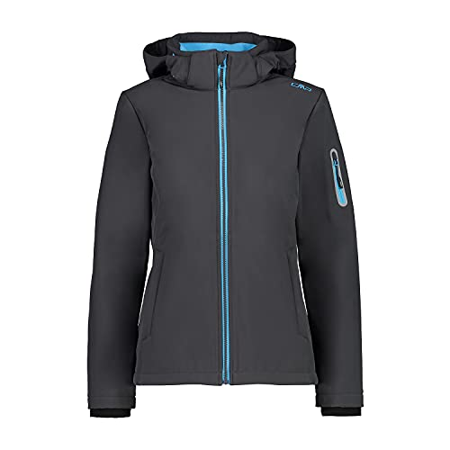 CMP Windproof and waterproof Softshell jacket WP 7,000, Woman, Antracite-azzurro, 42