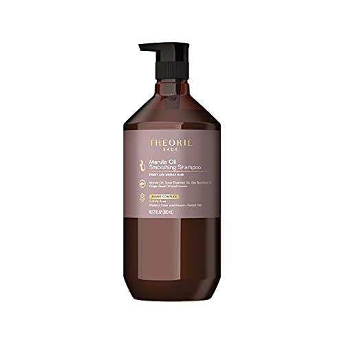 THEORIE Marula Oil Smoothing Shampoo- Controls Frizz & Smooths Hair with Marula Oil, Sea Buckthorn Oil & Grape Seed Oil, Sulfate-Free, Gluten-Free, Suited to All Hair Types, 800 ML