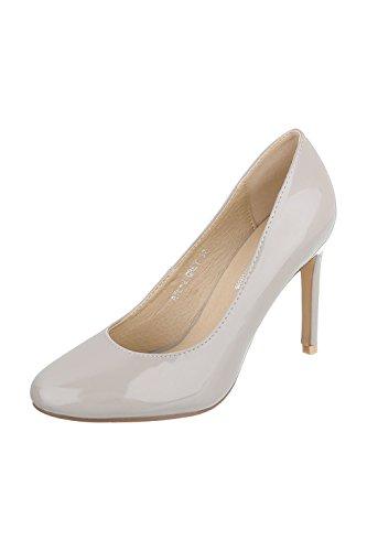 Elegante Damen Pumps High Heels in Lackoptik schwarz oder hellgrau Gr. 36-40 (36, hellgrau)