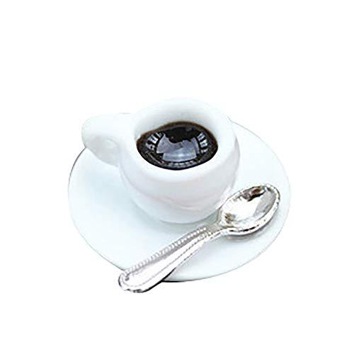 CAheadY Puppenhaus-Miniaturkaffeetasse mit Untertassen-Löffel-Simulation täuschen Spiel-Spielzeug vor