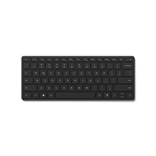 Microsoft Designer Compact Keyboard (deutsches QWERTZ Tastaturlayout, Schwarz, kabellos)