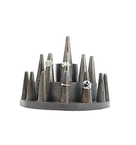 Ringhalter/Etagere Ringe (13Räucherkegel) aus Holz Braun getönt Schokolade