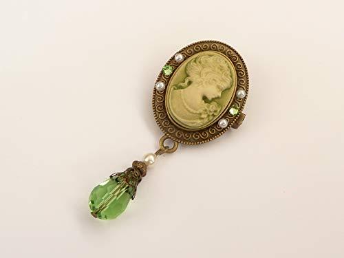 Kamee Brosche in grün bronze Vintage Stil