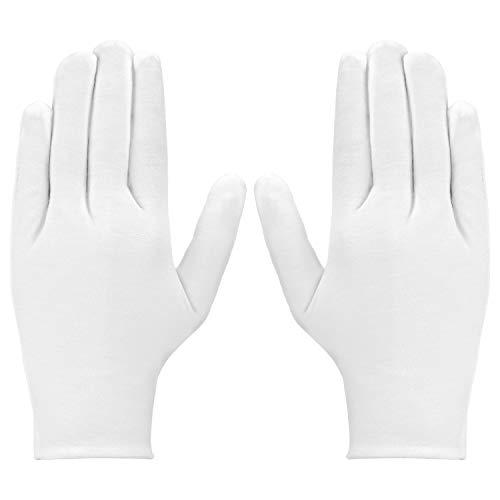 LUTER 3 paar witte katoenen handschoenen stoffen handschoenen voor dames en heren voor werk, thuis, huiswerk