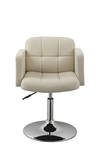 Clubsessel Sessel Kunstleder Creme Esszimmerstuhl Lounge Sessel höhenverstellbar drehbar Duhome 0493 - 6