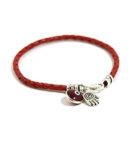 MIZZE Jewelry Rotes geflochtenes Echtleder-Armband mit Sterlingsilber-Spirale Hamsa & Böser Blick Charms – 20 cm
