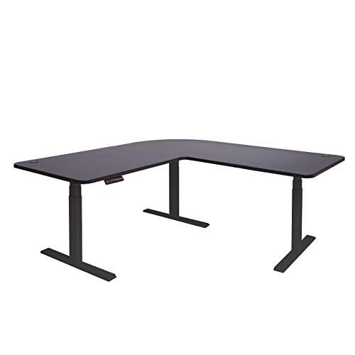 Mendler Eck-Schreibtisch HWC-D40, Bürotisch Computertisch, elektrisch höhenverstellbar Memory 178x178cm 84kg ~ schwarz, schwarz