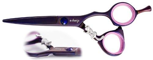 E-Kwip Schere Lilac mit silberner Tanuki Figur, 5.5 Zoll