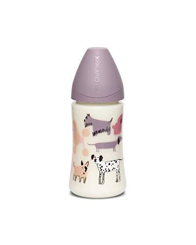 Suavinex - Biberón para bebés +0 meses. con tetina 3 posiciones (flujo lento, medio o Denso) de silicona. color Perritos Lila, 270ml