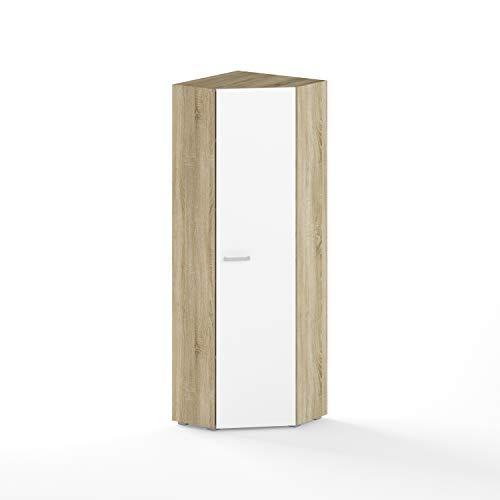 BIM Furniture Armario de esquina Aurora 60 x 60 cm, con una puerta de roble Sonoma, color blanco
