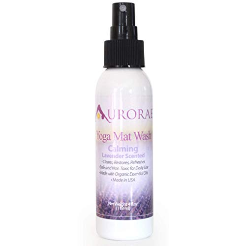 Natural & Organic Yoga Mat Wash Cleaner 4 fl oz Safe Cleans and Restores. 4 Aroma-therapeutic scents (Lavender)