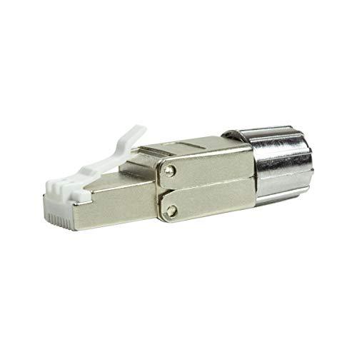 LogiLink MP0080-CAT MP0080 feldkonfektionierbarer RJ45 Stecker CAT 8.1-EconLine, Grau, Edelstahl,