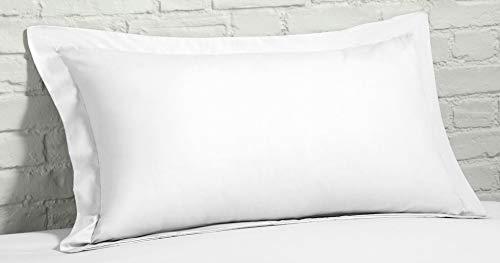 Linen Zone - Juego de Fundas de Almohada (400 Hilos, algodón Egipcio, 50 x 75 cm), Color Blanco