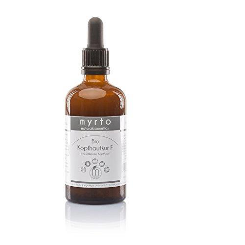 myrto – Bio Kopfhautkur F - veganes Serum gegen fettige Kopfhaut + ölige Schuppen | ohne Konservierungsstoffe - ohne Alkohol - Laktylat Wirkstoff - Braunglas -100 ml