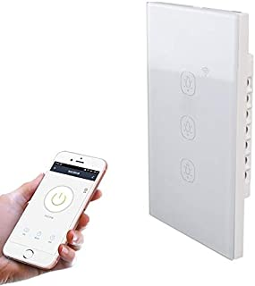 Smart Home 2.4G 3 Buttons Smart Light Wall Switch, Support Alexa/Google Home Voice Control, US Plug Smart Home