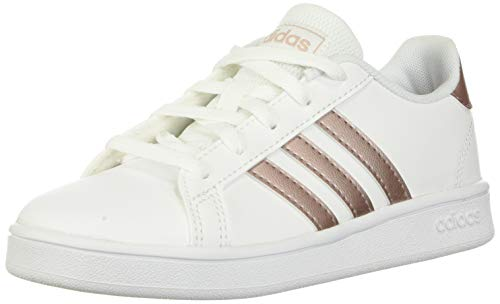 adidas Kids' Grand Court K Sneaker, White/Copper Metallic/Glow Pink, 2.5 M US Little Kid