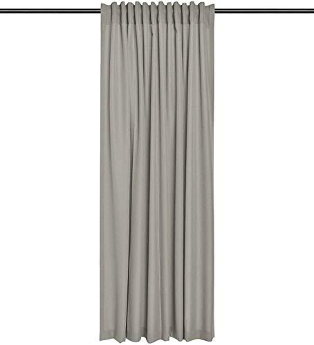 Rollmayer Vorhang mit Tunnelband (Reno Graubeige 16, 140x260 cm - BxH) Uni einfarbig Verdunklungsgardine verdunkelung lichtundurchlässig für Schlafzimmer Wohnzimmer 1 Stück