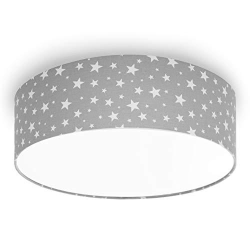youngDECO Deckenlampe für Baby- und Kinderzimmer, 3xE27, großer Lampenschirm Ø45cm,Sterne auf Pastellgrau, skandinavische Kinderzimmer-Deko für Mädchen & Junge, Deckenleuchte für Kinderzimmer