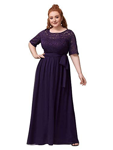 Ever-Pretty Talla Grande Vestido para Invitada de Boda Encaje A-línea Imperio Escote...