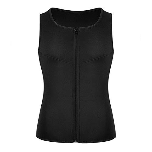 For hombre adelgaza la talladora del cuerpo del chaleco de compresión Sauna Sudor de la cintura del corsé Trainer Fajas con la cremallera for bajar de peso ( Color : Black zipper , Size : M )
