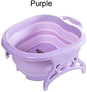 Janedream Collapsible Foot Tub Portable Foldable Feet Relax Spa Massage Large Heightening Footbath Folding Barrel Outdoors Camping Purple