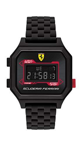 Ferrari Reloj de cuarzo para hombre con correa de silicona, negro, 20 (Modelo: 830745)