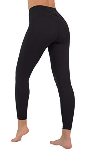 Yogalicious High Waist Squat Proof Criss Cross V-Back Ankle Length Leggings - Black - XS