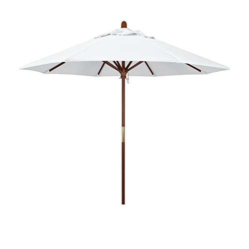California Umbrella 9' Round Hardwood Frame Market Umbrella, Stainless Steel Hardware, Push Open, White Olefin