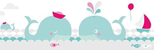 lovely label Bordüre selbstklebend WALE Mint/GRAU/PINK - Wandbordüre Kinderzimmer/Babyzimmer mit Walen im Meer in versch. Farben - Wandtattoo...