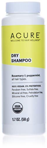 ACURE Dry Shampoo - All Hair Types | 100% Vegan | Certified Organic | Rosemary & Peppermint - Absorbs Oil & Removes Impurities Without Water | 1.7 Fl Oz