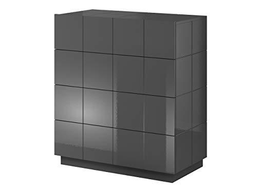 Mirjan24 Kommode mit 4 Schubladen Wamoz 4S, Diele, Flur, Anrichte, Highboard, Sideboard, Wohnzimmer, Esszimmer, Mehrzweckschrank (Graphit Hochglanz, ohne Beleuchtung)