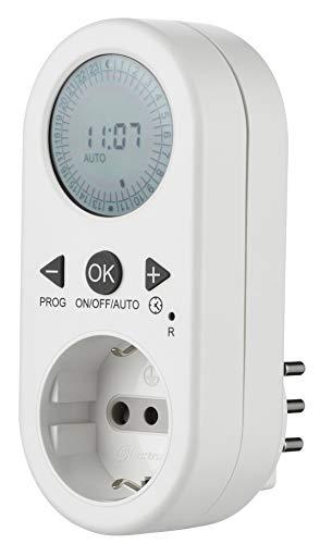 Electraline 58116 Timer Programmatore Digitale Giornaliero con Intervallo Programmazione, Presa Schuko + 10A, Bianco