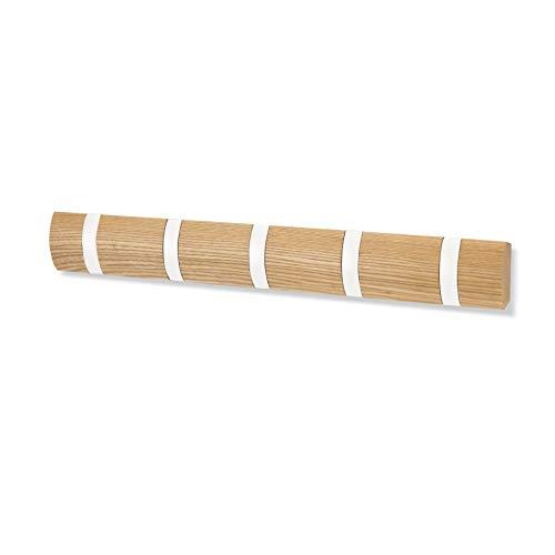 Umbra Flip Hook 5 Haken Natur/weiß Holz Alu Hakenleiste Garderobenhaken – mit 5 Beweglichen Haken