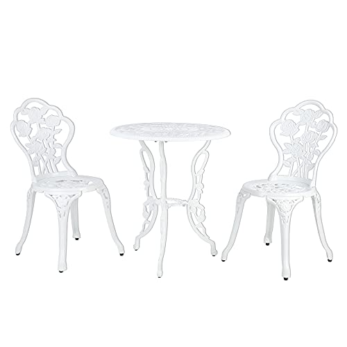 Garden Furniture Set 3 Pieces Outdoor Table Set Aluminium Patio Garden Furniture Bistro Set with 1 Coffee Table and 2 Chairs for Balcony, Garden, Restaurant White