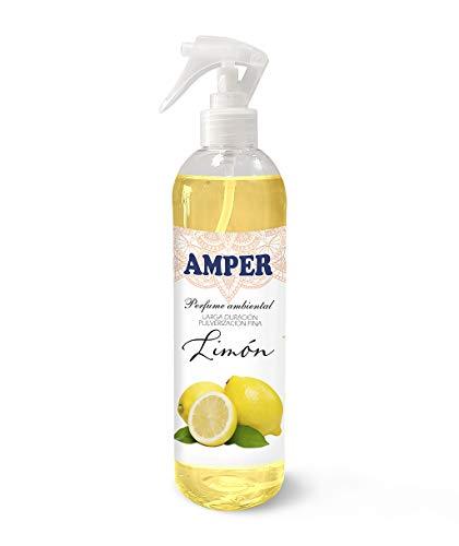 AMPER LIMÓN 500 ml - Spray Ambientador Pulverización Fina. Larga duración. Aroma Fresco cítrico