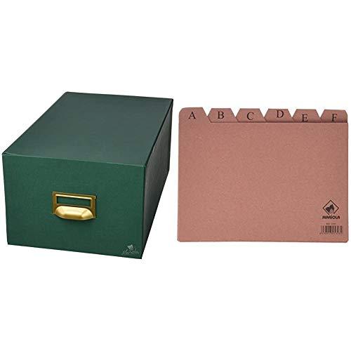 Mariola 4-1000 - Fichero cartón forrado en Geltex para 1000 fichas dimensiones 220 x 155 x 350 mm, color verde + 3105 - Índice alfabético 24 posiciones cartón 215x160 mm