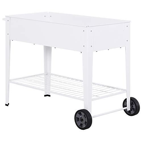 Outsunny Hochbeet, Mobiler Pflanzenwagen mit Stauraum, Pflanzenbeet mit 2 Rollen, Metall, Weiß, 107,5 x 50 x 80 cm