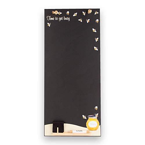 Lavagna da cucina in legno con fune, vassoio e gesso., Legno, Nero , 60 x 26.5 x 1 cm