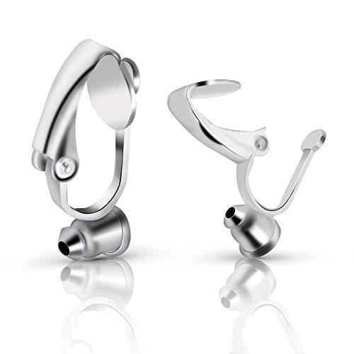 BronaGrand イヤリングクリップバック クリップオンイヤリング コンバーター部品 ポスト付き ピアス穴のない耳用 シルバー 20個