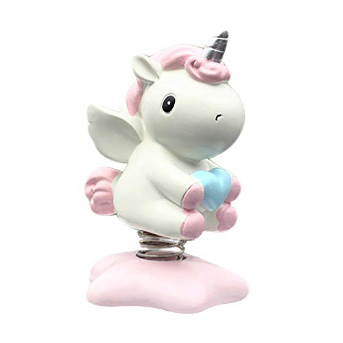 Amosfun Car Dashboard Ornaments Unicorn Shaking Head Nodding Toy Desktop Decorative Auto Adornment Accessories Christmas Gift Favor (Pink)