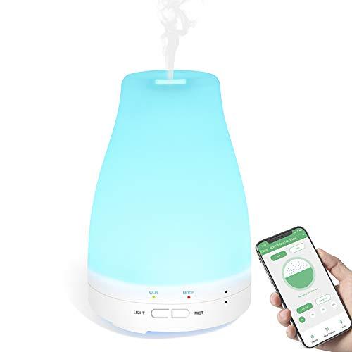 Diffusore Oli Essenziali Smart, 120mL Diffusore Aroma Fiunziona con Alexa, Google Home e iFTTT RENPHO APP Controllo WiFi Aromaterapia ad Ultrasuoni Umidificatore Vaporizzatore, Spegnimento Automatico, Modalità Nebulizzazione Regolabile, Lampada LED Cambia Colore per Stanza Bambini Spa