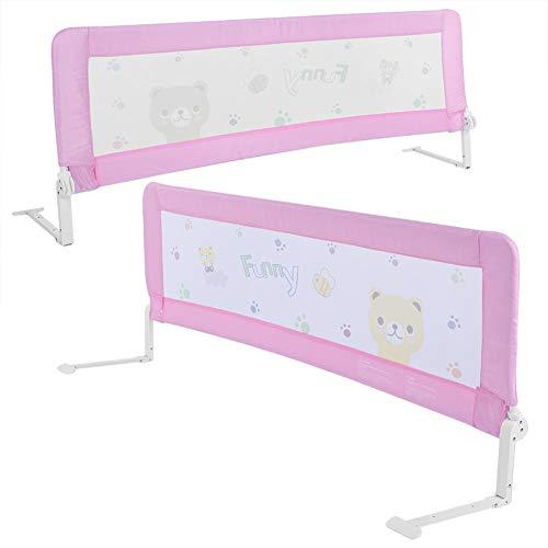 GOTOTOP - Barrera de cama para niños, color rosa, para proteger a los bebés de las caídas, 180 x 65 cm (acero inoxidable y lienzo)