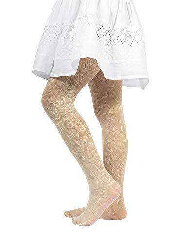 CALZITALY Mädchen Strumpfhosen mit Spitzen und Blumenmuster | Weiß, Blau | 2-14 Jahre | 40 DEN | Made in Italy (128/140 8/10 Jahre, Beige)