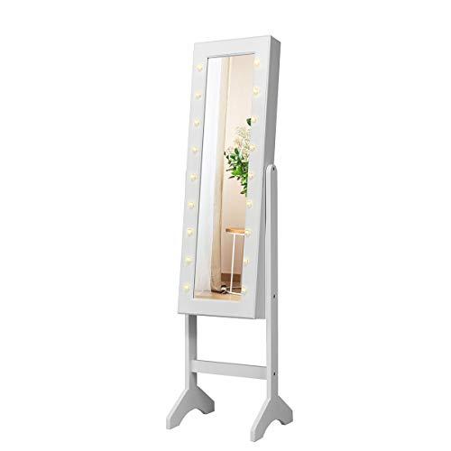 COSTWAY Armario para Joyas Espejo Joyero de Pie con 18 LED ,Inclinación Ajustable y Estante Gabinete de Maquillaje para Joyería Almacenamiento (Blanco)
