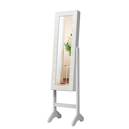 COSTWAY Armario para Joyas Espejo Joyero de Pie con 18 LED ,Inclinacion Ajustable y Estante Gabinete de Maquillaje para Joyeria Almacenamiento (Blanco)
