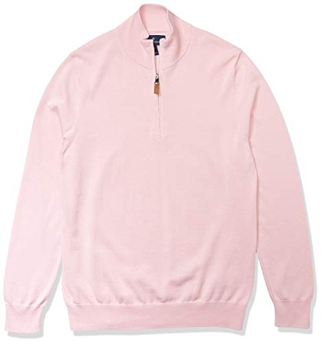 Amazon Brand - Buttoned Down Men's 100% Supima Cotton Quarter-Zip Sweater, Light Pink, X-Large