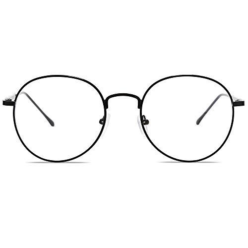 SOJOS Blaulichtfilter Brille Retro Rund Computerbrille ohne Sehstärke GLORY SJ5039 mit Schwarzer Rahmen/Anti-Blaulicht Linse